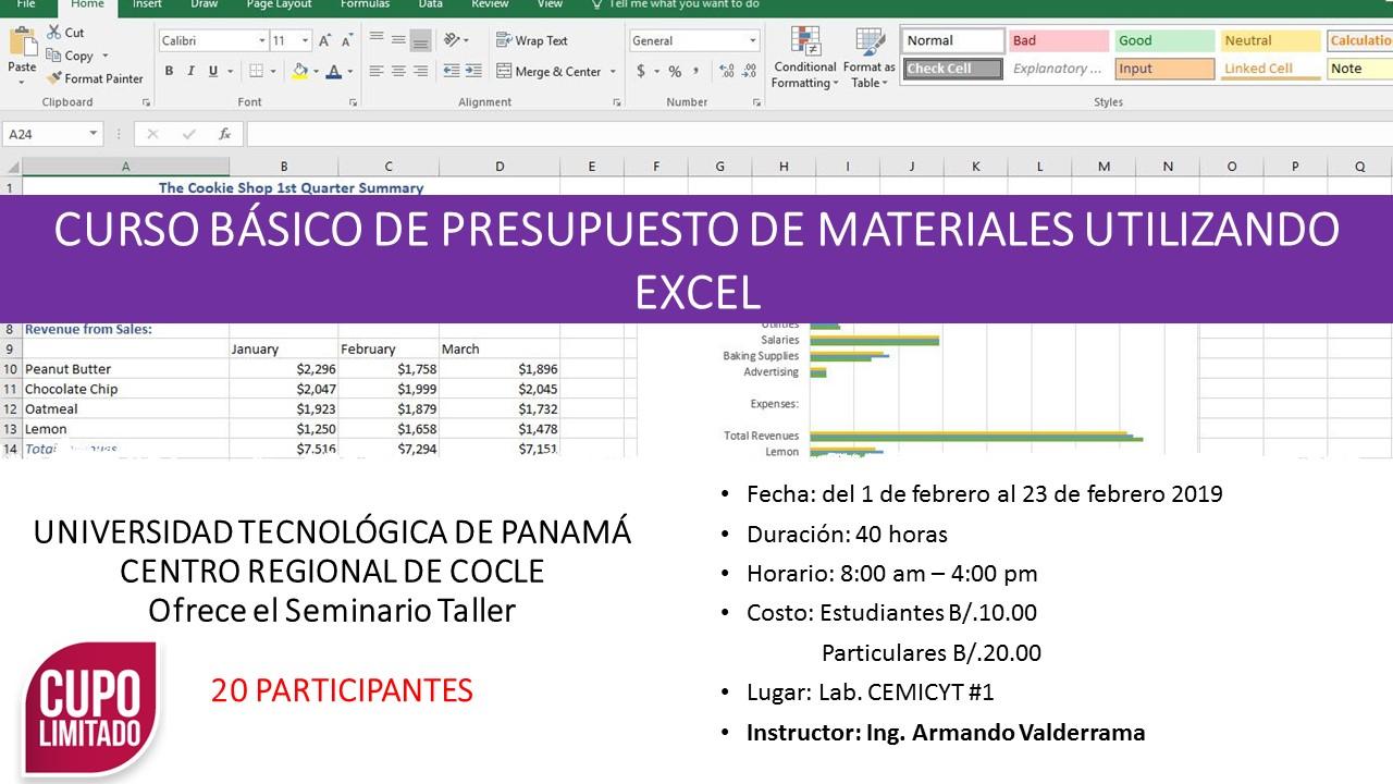 CURSO BÁSICO DE PRESUPUESTO DE MATERIALES UTILIZANDO EXCEL
