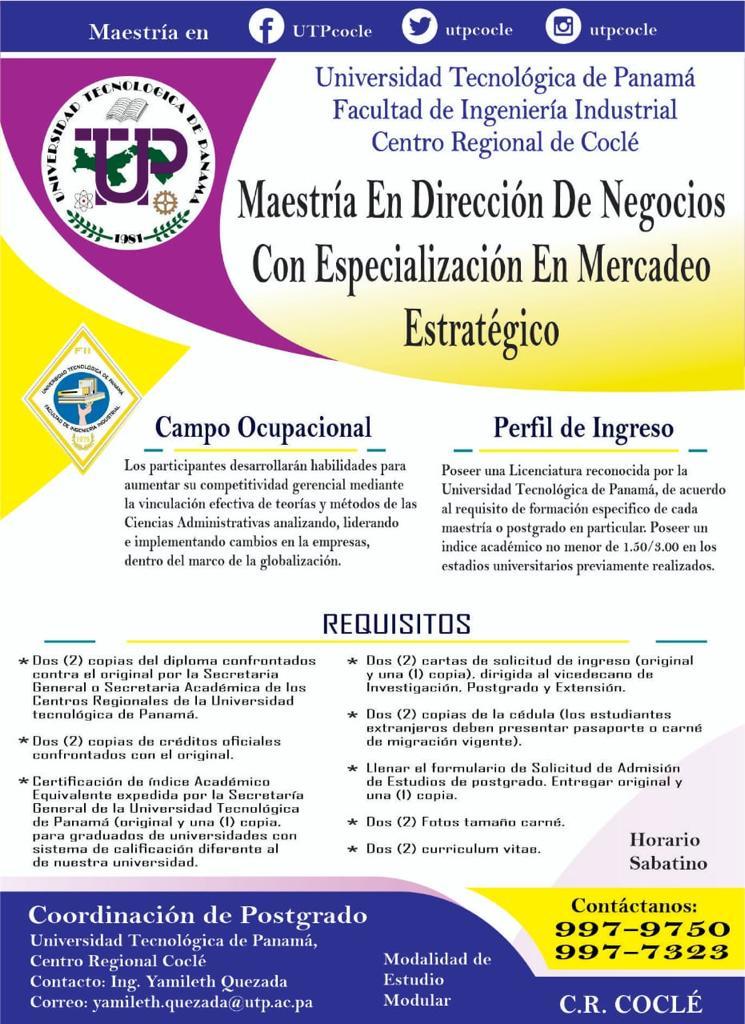 Maestría en Dirección de Negocios Con Especialización en Mercadeo Estratégico